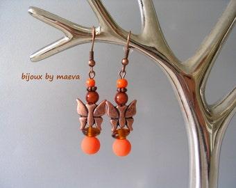 costume jewelry earrings orange ears and orange brown Butterfly