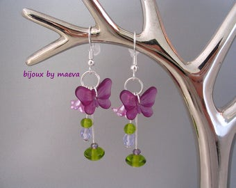 Costume jewelry purple butterfly purple and green earrings