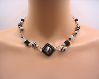 Black and white necklace, designer costume jewelry, black and white pearls, stripes