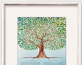Contemporary Custom Ketubah Tree of Life I Am My Beloved's