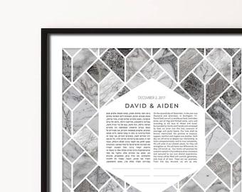 Contemporary Custom Ketubah Marriage Certificate Marble Pattern Dark