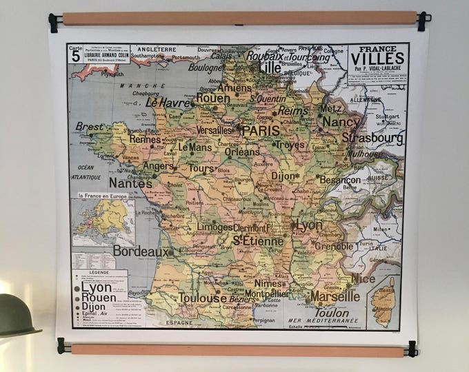 Featured listing image: Reproduction of old school map N 5 France Cities by Vidal Lablache