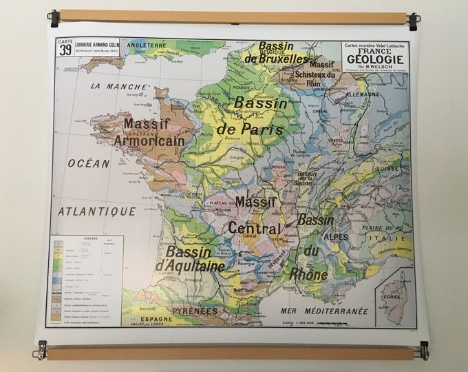 Featured listing image: Reproduction of old school map France geology