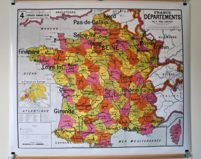Featured listing image: Reproduction of old school map N 4 France departments by Vidal Lablache
