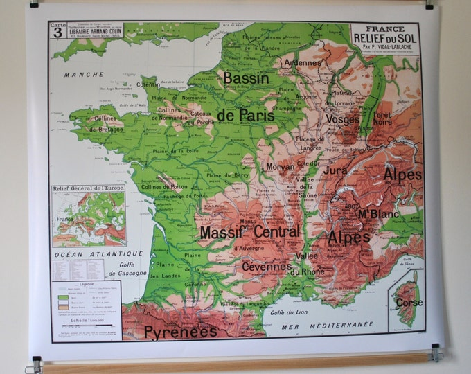 Featured listing image: Reproduction of old school map No. 3 by Vidal cast Relief France