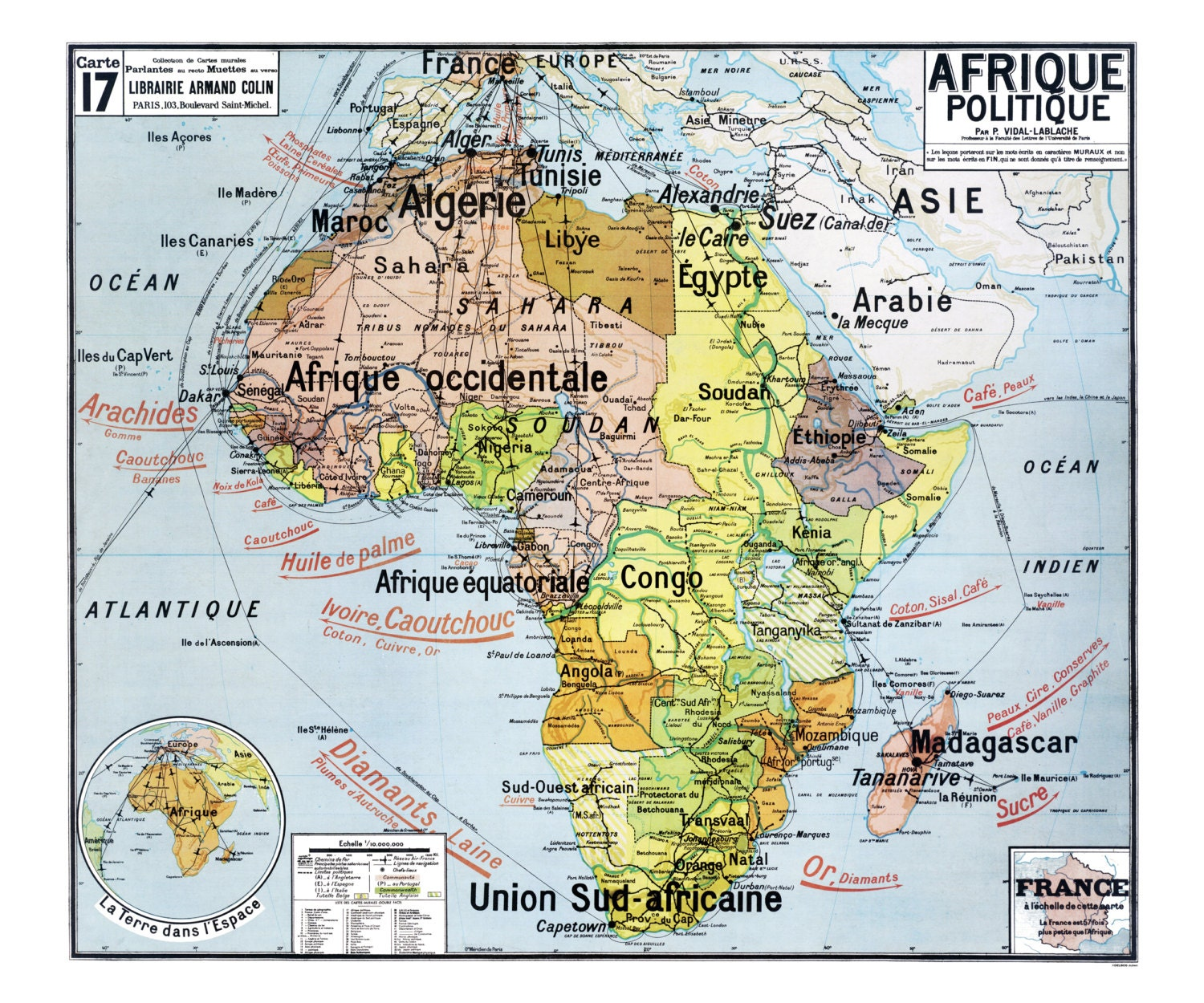 Reproduction of old school Vidal Lablache N 17 Africa political map