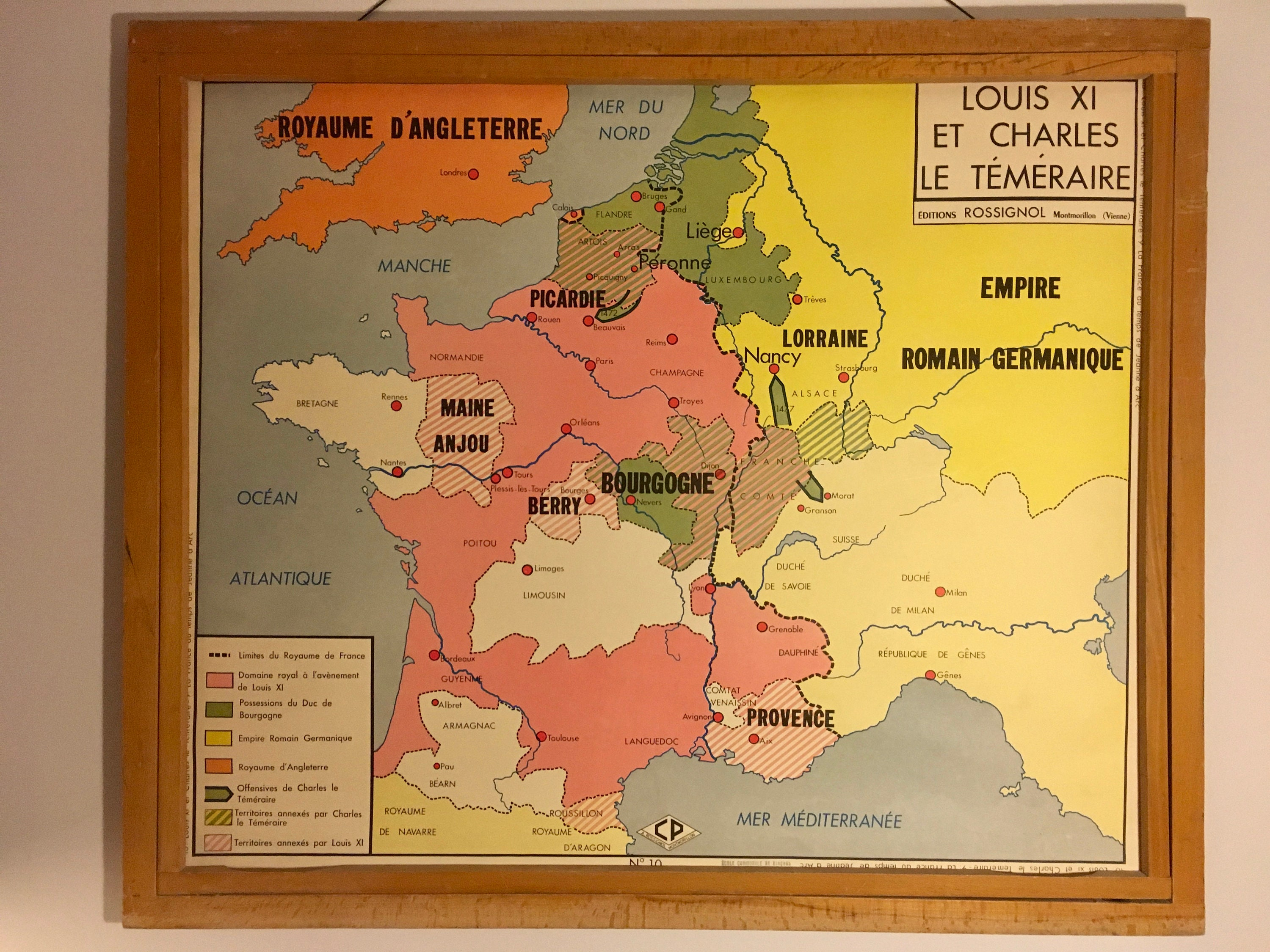 Map Of France Over Time.Old Maps Geography Double Sided Louis Xi And The Bold Charles