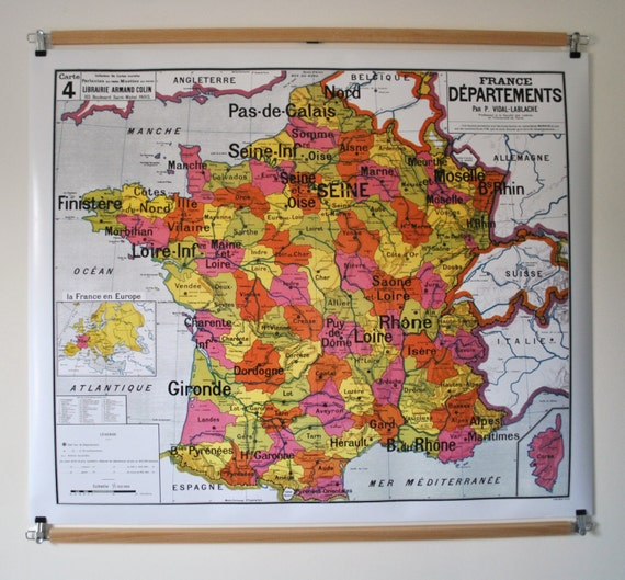 Reproduction of old school map N 4 France departments by Vidal | Etsy