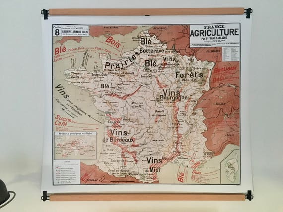 Reproduction of old school map France Agriculture by Vidal Lablache 8 N