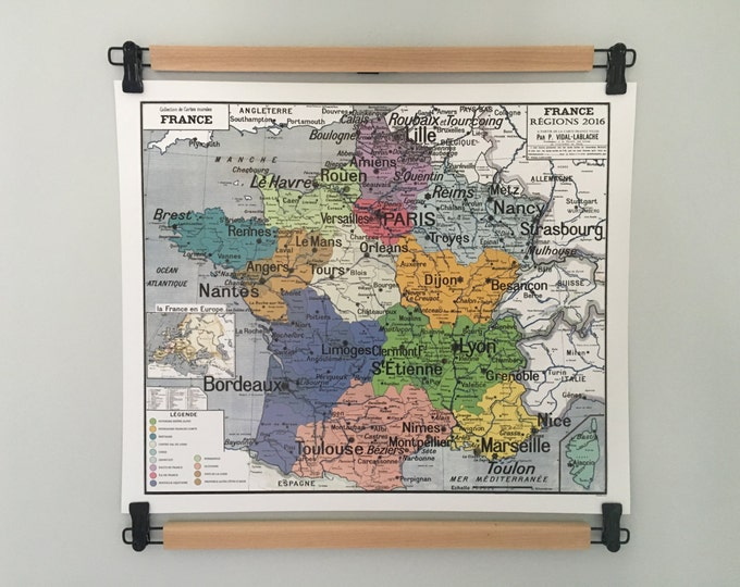 Featured listing image: France Regions 2016, the new regions. Reproduction and modification of old vintage school card.