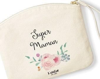 T22W Trousse personnalisable coton bio, trousse best mum ever, trousse de toilette, trousse à offrir,mother's day , wedding, super nounou