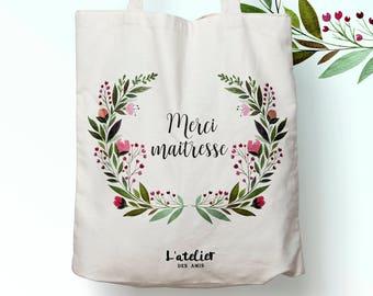 W117Y tote bag thank you teacher, custom tote bag, tote bag, teacher, cotton tote bag, laptop bag, shopping bag