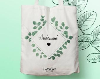 W108Y Tote bag Personnalisé wedding, sac de toile cabas, sac demoiselle d'honneur , mariée fleurs, Tote Bag, tote bag evjf, cabas