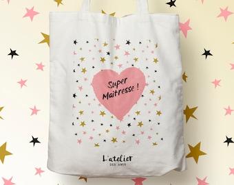 X455Y tote bag maitresse,  tote bag coton maitresse, sac fourre-tout, sac à langer, tote bag coton, sac été, tote bag summer, sac en coton