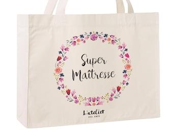C13W Caba Personnalisé maîtresse, sac de toile cabas, sac en coton, sac super maîtresse, sac à offrir maîtresse, school bag, sac toile