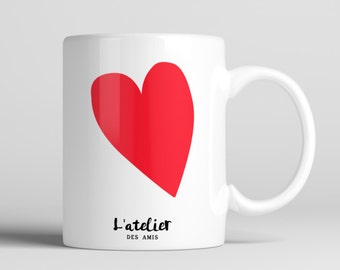 M72T Mug Coeur, mug en céramique, maison et cuisine, mug coffee, mug tea, tea time, coffee time, gift mug, mug summer time