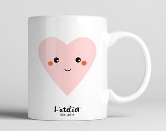 M78T Mug COEUR, mug en céramique, maison et cuisine, mug coffee, mug tea, tea time, coffee time, gift mug, mug summer time