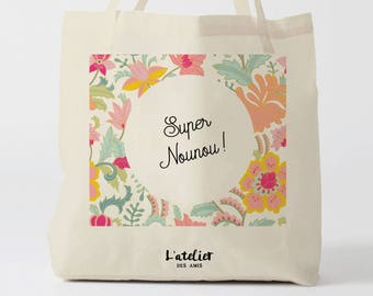X462Y tote bag nounou,  tote bag coton nounou, sac fourre-tout, sac à langer, tote bag coton, sac été, tote bag summer, sac en coton