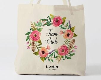W125Y Team Bride, Tote bag Personnalisé, sac de toile, sac demoiselle d'honneur , marié mariage,fourre-tout personnalisé, tote bag evjf