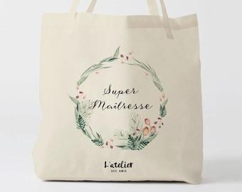 W152Y Tote bag Personnalisé maîtresse, sac de toile cabas, sac en coton, sac super maîtresse, sac à offrir maîtresse, school bag, sac toile