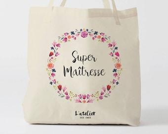 W129Y Tote bag Personnalisé maîtresse, sac de toile cabas, sac en coton, sac super maîtresse, sac à offrir maîtresse, school bag, sac toile