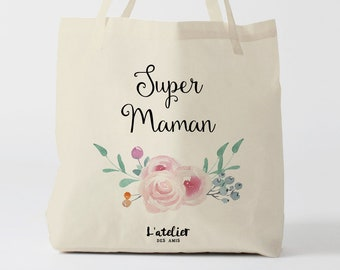 W162Y tote bag super maman, custom tote bag, sac fourre-tout, sac à langer, sac fête des mères, sac ordinateur, sac courses, sac en coton