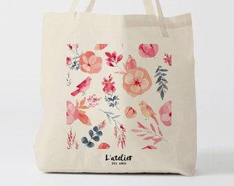 X511Y tote bag flowers, sac love, sac amour, sac en toile, sac coton, sac à langer, sac à main, sac fourre-tout, sac de course