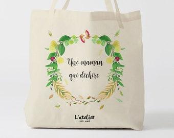 W139Y tote bag maman qui déchire, custom tote bag, sac fourre-tout, wedding bag, fête des mères, sac courses, sac en coton, mother's day