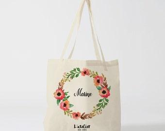 W1Y Tote Bag personnalisé mariage, cabas Personnalisé demoiselle d'honneur, sac de toile fleur, sac demoiselle d'honneur, cabas personnalisé
