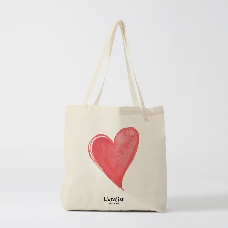 canvas bag cotton bag tote bag personalized X279Y tote bag heart personalized tote bag shopping bag tote gift custom tote bag
