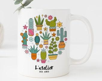 M7T Mug cactus, mug en céramique, maison et cuisine, mug coffee, mug tea, tea time, coffee time, gift mug, mug summer time, mug plante, mug