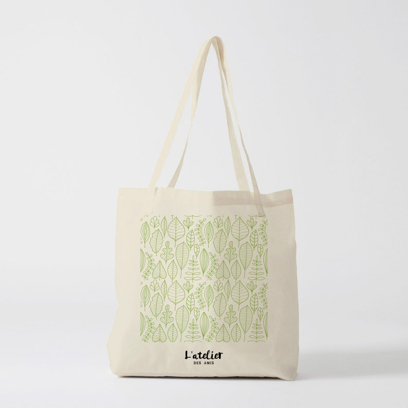 f50aaf6a285e X193Y Tote bag canvas bag, shopping bag, handbag, diaper bag, shopping, for  classes, nature bag, picnic bag, green leaves