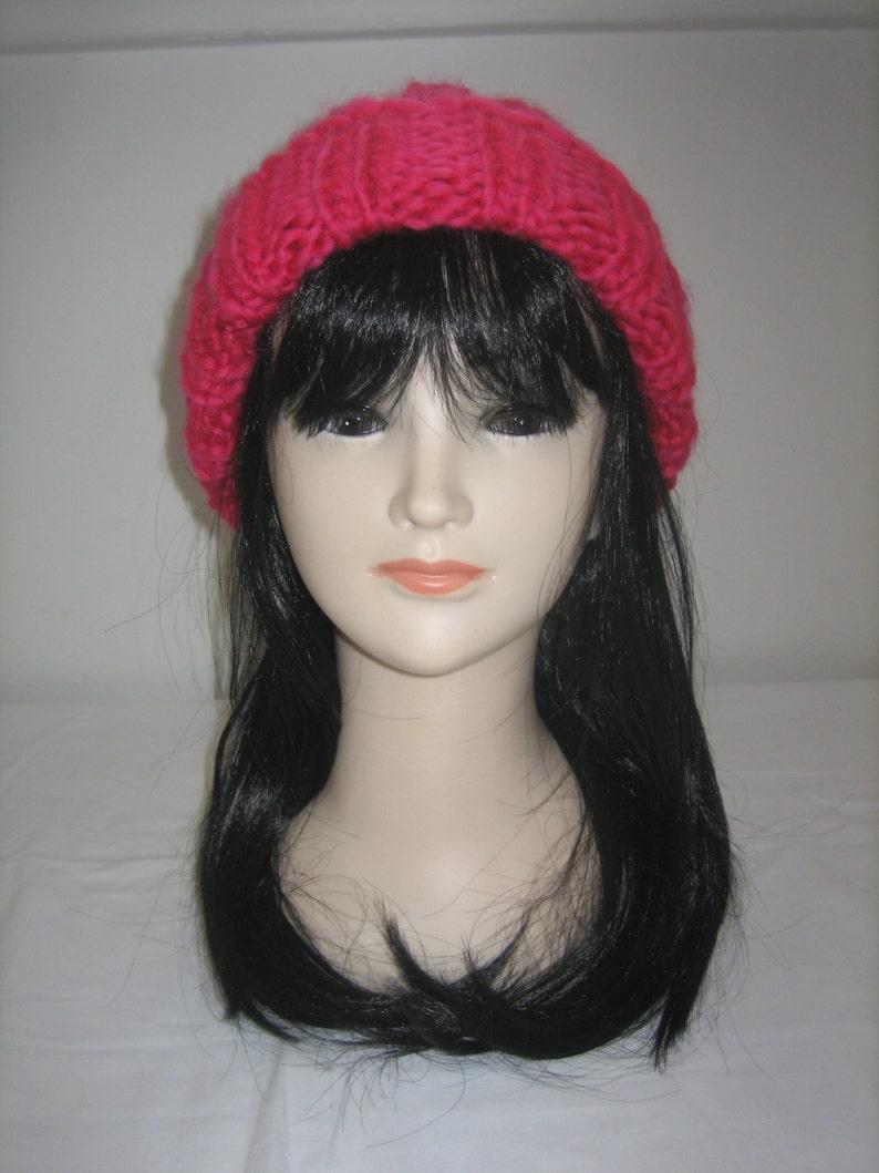 100/% Red Merino Wool chunky Hat
