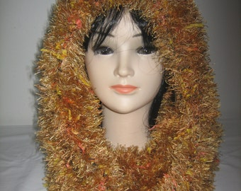 Snood hooded wool hairy fantasy
