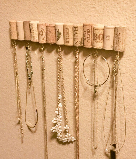 Wine Cork Jewelry Hanger Wine Cork Necklace Hanger Wine Etsy