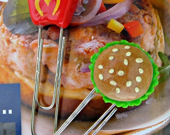 """set of 2 fancy """"burger and fries"""" paperclip bookmarks"""