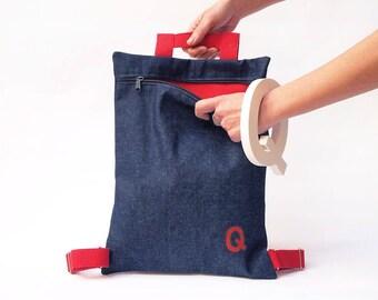 Denim mini backpack rucksack denim backpack women minimalist shoulder bag for her streetwear vegan backpack Canvas backpack womens