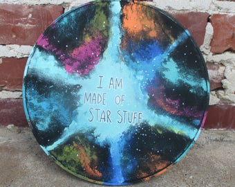 I Am Made of Star Stuff - Carl Sagan, hand painted nebula, galaxy painting on canvas in an embroidery hoop, star stuff quote art