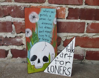 3808b175a The Mountain Goats lyrics painting on recycled wood, Best Ever Death Metal  Band out of Denton, indie folk rock, music art, painted skull art