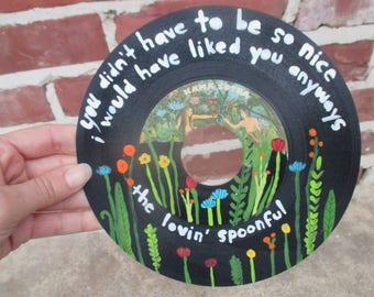 The Lovin' Spoonful painted 45 vinyl record, 60's music lyrics art, sixties music, hand painted art record, 60s rock n roll wall decor art,