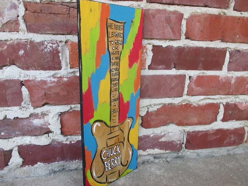 e82f532ea865 Chuck Berry lyrics painting on recycled wood Johnny B. Goode