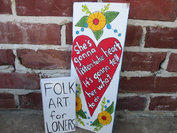Tom Petty Lyrics Painting On Recycled Wood Listen To Her Heart Wild Flowers And Heart Painting Tom Petty Art Lyrics Art Folk Art Heart