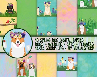 Garden Dog Digital Papers - Pets Wearing Floral Wreaths SEAMLESS Pet Patterns of Puppies Cats Wildlife - Artistic Easter or Spring Patterns