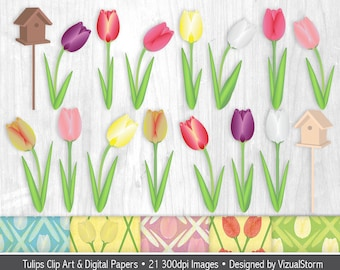 Tulip Border Clipart Spring Floral Borders Flowers Digital Etsy