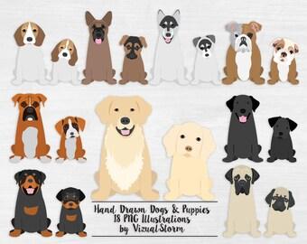 77b95195b Puppy Dog Clipart Sitting Puppies and Dogs Digital Pet Scrapbooking  Graphics Labrador Husky Bulldog Shepherd Boxer Beagle Rottweiler Mastiff