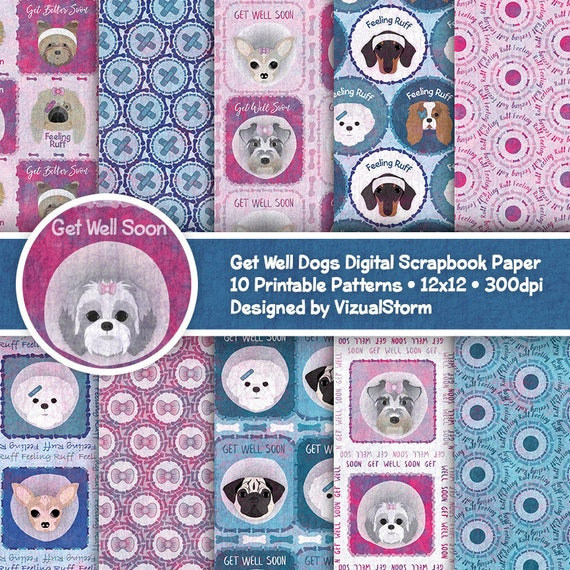 Printable Get Well Dog Digital Papers Dog Head Patterns Get Etsy