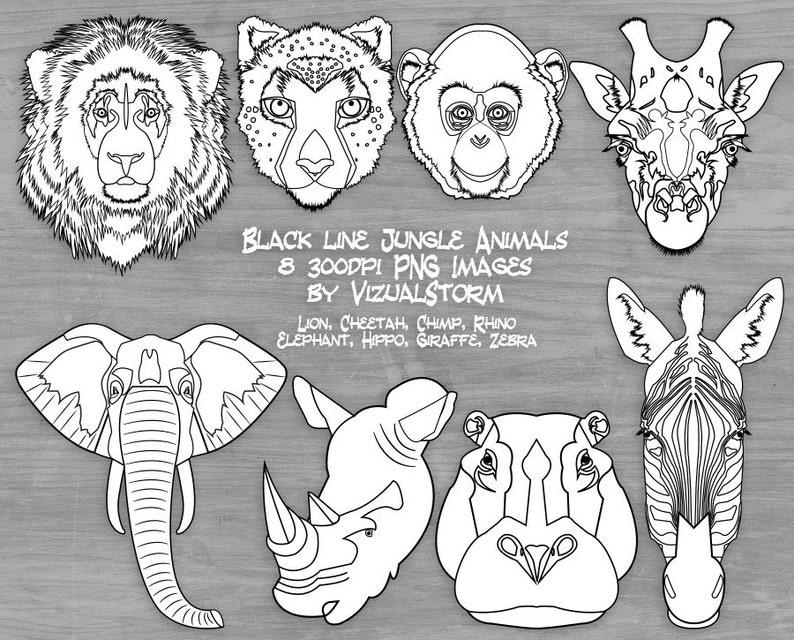Black And White Safari Animal Face Clipart Jungle Animal Head