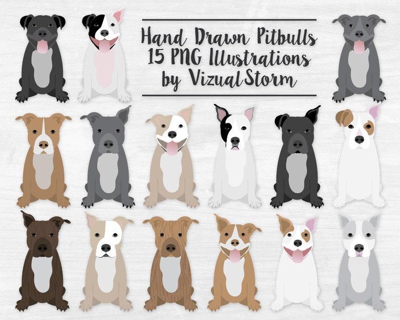 d735d44ff9 Pitbull Clipart Sitting Dogs Clip Art Pet Scrapbooking | Etsy