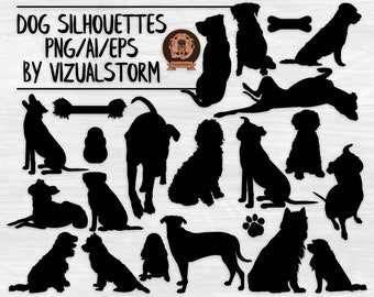 Dog Vector Silhouettes - AI Eps Png Dogs in Multiple Positions and Breeds with Sitting, Profile, Standing, Laying Down - INSTANT DOWNLOAD