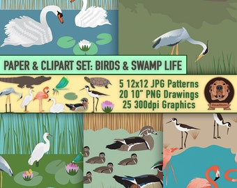 Seamless Water Bird Digital Patterns and Clipart - Ocean Pond Lake River Marsh with Swamp Animals and Plants 25 Graphics - INSTANT DOWNLOAD